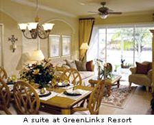 A suite at GreenLinks Resort